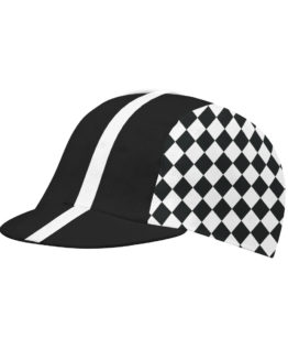 Black and white cycling cap