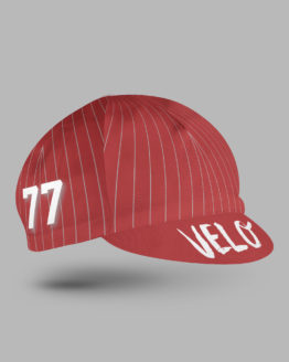red cycling cap with stripes