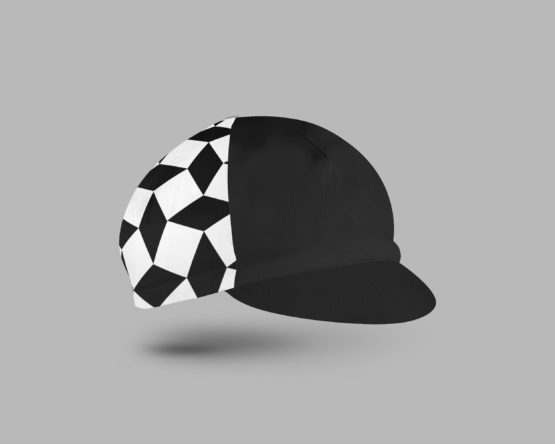 Black and white watch out cycling cap